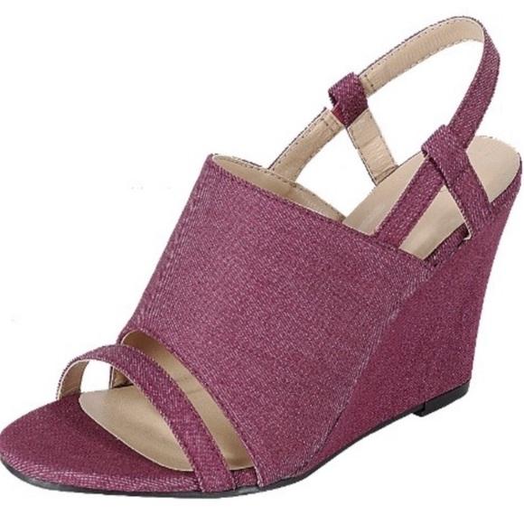 Forever Shoes Womans Burgundy Denim Wedge Sandals Poshmark